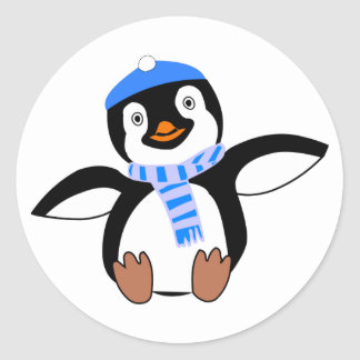 Penguin Wearing Scarf and Snow Cap/Hat in Winter Classic Round Sticker