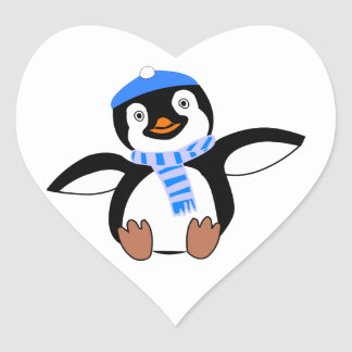 Penguin Wearing Scarf and Snow Cap/Hat in Winter Heart Sticker