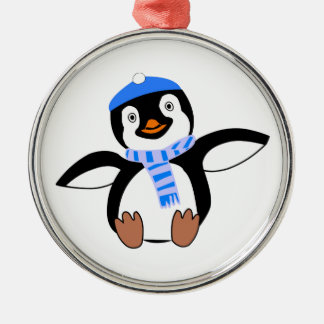 Penguin Wearing Scarf and Snow Cap/Hat in Winter Metal Ornament