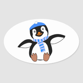 Penguin Wearing Scarf and Snow Cap/Hat in Winter Oval Sticker