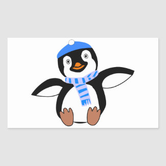 Penguin Wearing Scarf and Snow Cap/Hat in Winter Rectangular Sticker