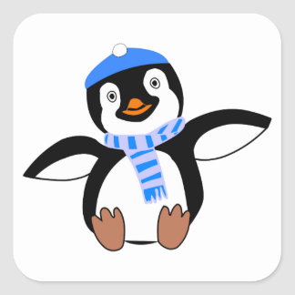 Penguin Wearing Scarf and Snow Cap/Hat in Winter Square Sticker