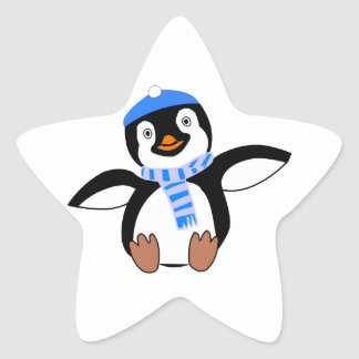 Penguin Wearing Scarf and Snow Cap/Hat in Winter Star Sticker