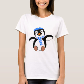 Penguin Wearing Scarf and Snow Cap/Hat in Winter T-Shirt