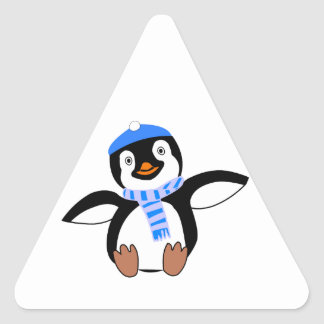 Penguin Wearing Scarf and Snow Cap/Hat in Winter Triangle Sticker