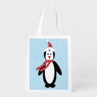 Penguin Wearing Star Scarf with Snowflakes & Blue Grocery Bags