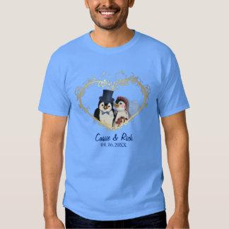 Penguin Wedding Bride and Groom - Customize T Shirt