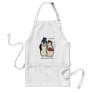 Penguin Wedding Bride And Groom Tie - Customize Adult Apron at Zazzle