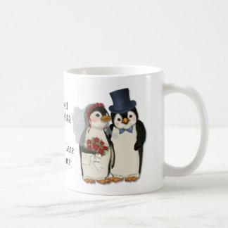Penguin Wedding Bride and Groom Tie - Customize Coffee Mug