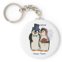 Penguin Wedding Bride and Groom Tie - Customize Keychain