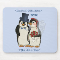 Penguin Wedding Bride and Groom Tie - Customize Mouse Pad