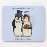 Penguin Wedding Bride and Groom Tie - Customize Mousepad