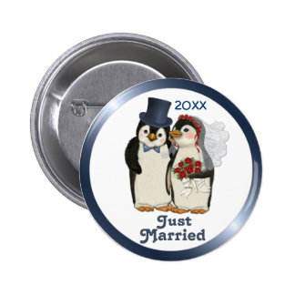Penguin Wedding Bride and Groom Tie - Customize Pinback Button