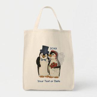 Penguin Wedding Bride and Groom Tie - Customize Tote Bag