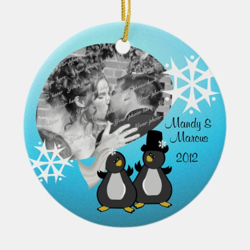 Penguin wedding christmas christmas tree ornament zazzle for Engagement christmas tree ornaments