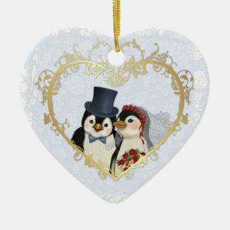 Penguin Wedding Heart - Customize back text Ceramic Ornament