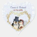 Penguin Wedding Heart - Customize Heart Sticker