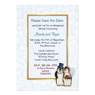 Penguin Wedding -  Rehearsal Dinner Invitation Personalized Invitations