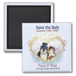 Penguin Wedding Save the Date 2 Inch Square Magnet