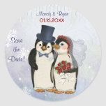 Penguin Wedding Seal - Save the Date Classic Round Sticker