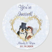 Penguin Wedding Seal- Thank You Classic Round Sticker