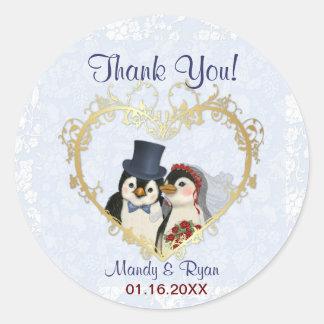 Penguin Wedding Seal- Thank You Sticker