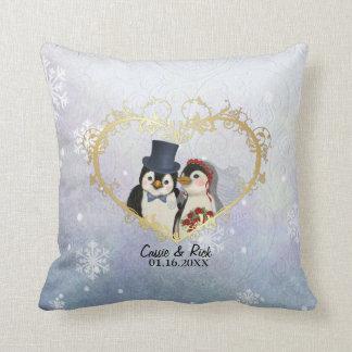 Penguin Wedding Snowflake Pattern - Customize Throw Pillow