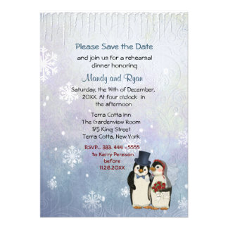 Penguin Wedding Snowflakes Rehearsal Dinner Invite Announcements