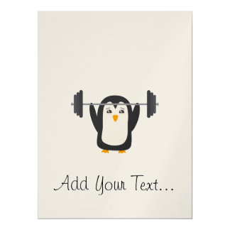 Penguin Weightlifting Card