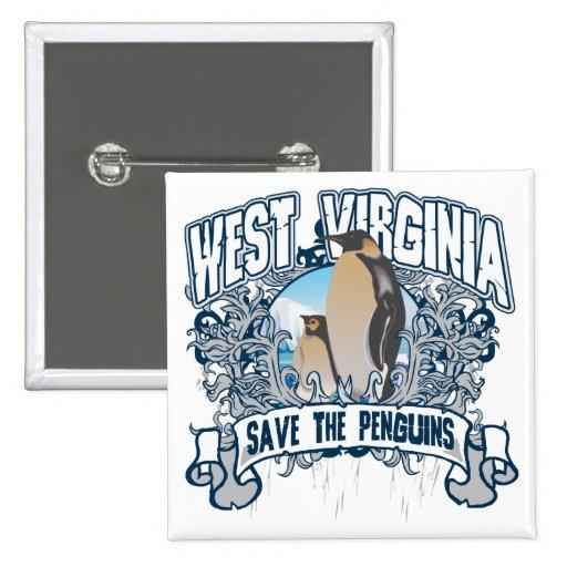 Penguin West Virginia 2 Inch Square Button