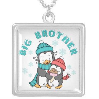 Penguin Winter Big Brother Square Pendant Necklace