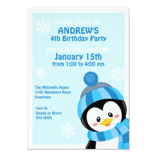 Penguin Winter Birthday Invitation