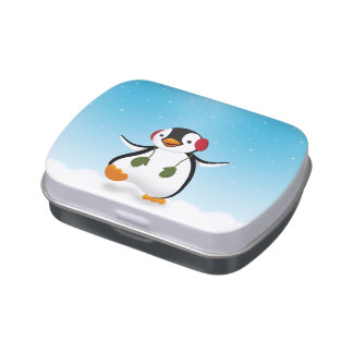 Penguin Winter Illustration - Candy Tin