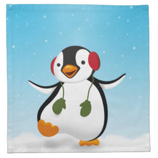 Penguin Winter Illustration - Cloth Napkin