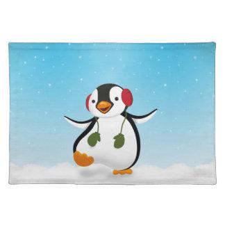Penguin Winter Illustration - Cloth Placemat