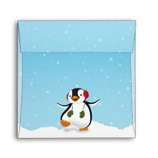 Penguin Winter Illustration - Envelope Square