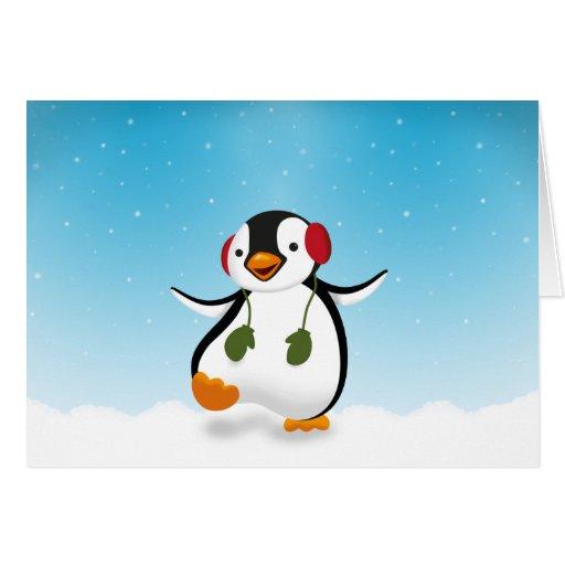 Penguin winter illustration greeting card zazzle for Penguin christmas cards homemade