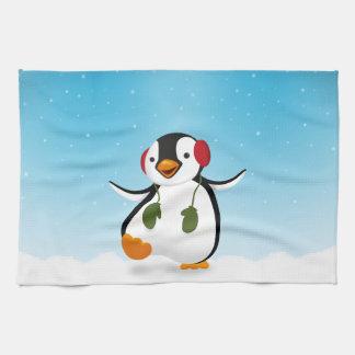 Penguin Winter Illustration - Kitchen Towel