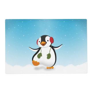 Penguin Winter Illustration - Laminated Placemat