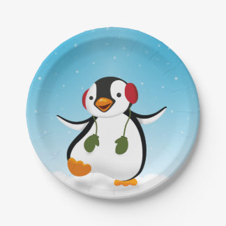 Penguin Winter Illustration - Paper Plate