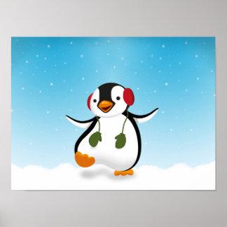 Penguin Winter Illustration - Poster