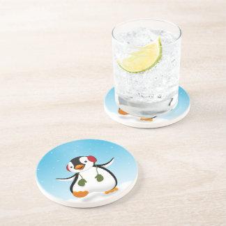 Penguin Winter Illustration - Sandstone Coaster