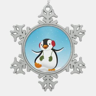 Penguin Winter Illustration - Snowflake Ornament