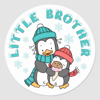 Penguin Winter Little Brother Classic Round Sticker
