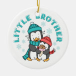 Penguin Winter Little Brother Double-Sided Ceramic Round Christmas Ornament