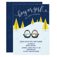 penguin winter night gender reveal invitation