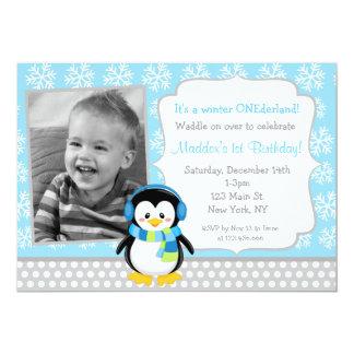 Penguin Winter ONEderland  Birthday Invitations
