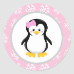 Penguin Winter Snowflake Favor Stickers
