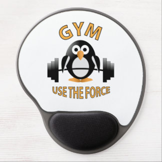 Penguin with a barbell gel mouse pad