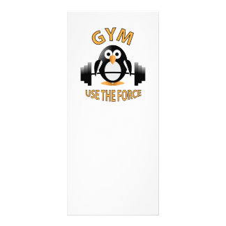 Penguin with a barbell rack card